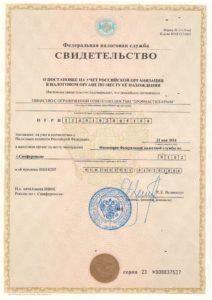 Свидетельство ФНС о государственной регистрации