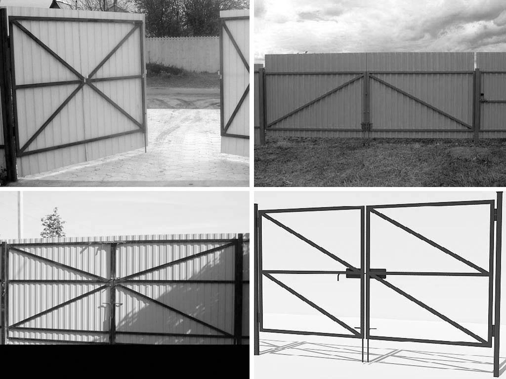 Как сделать ворота из профнастила своими руками фото проекты